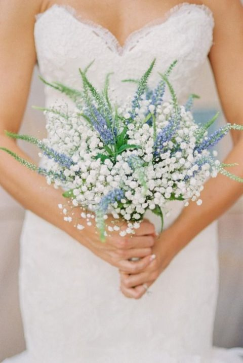 a cool baby_s breath and blue Delphinium wedding bouquet