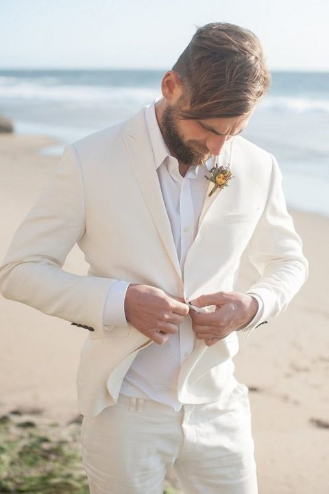 a creamy suit with a white shirt for a chic look