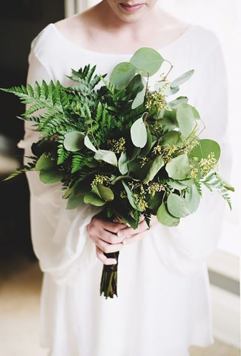 a fresh eucalyptus and fern wedding bouquet