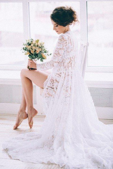 a gorgeous lace bridal robe with long sleeves