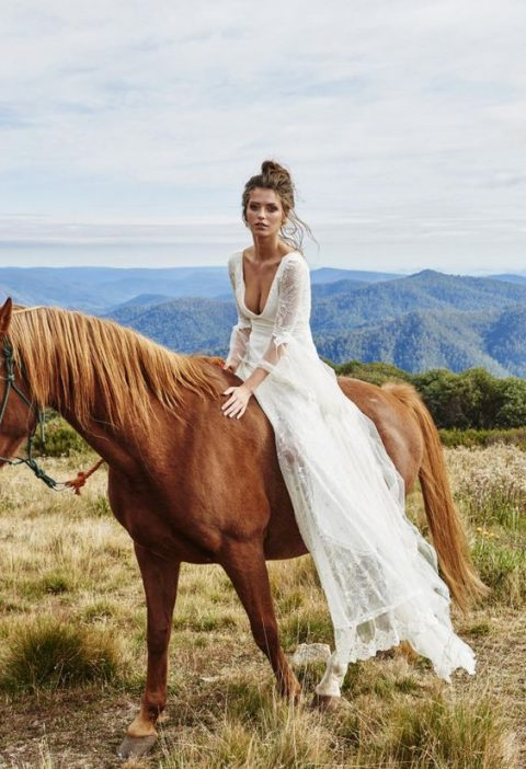 a gorgeous romantic dress with a deep V-neckline, bell sleeves and an open back by Grace Loves Grace