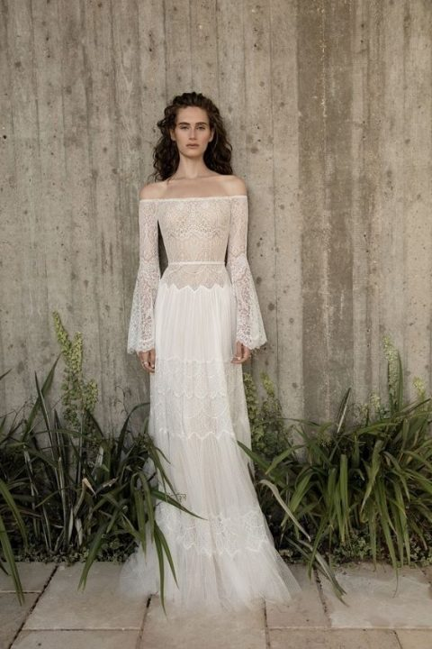 23 Trendy Bell Sleeve Wedding Dresses | HappyWedd.com
