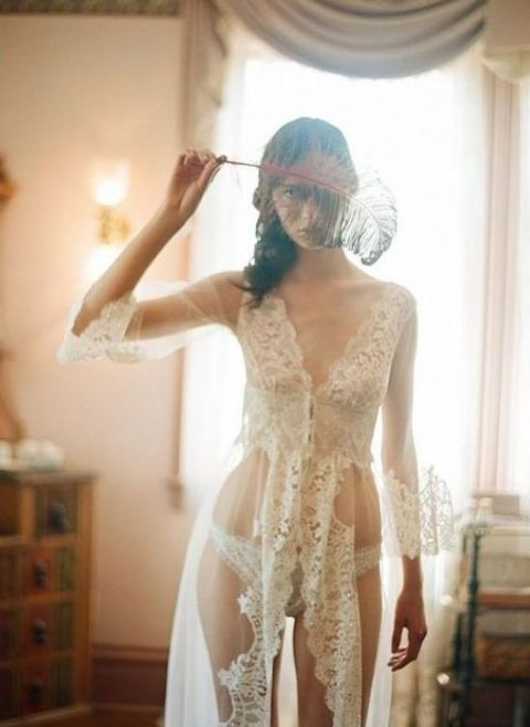 a sheer bridal robe with wide lace trim