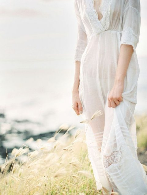 a vintage dress with half sleeves and a lace trim