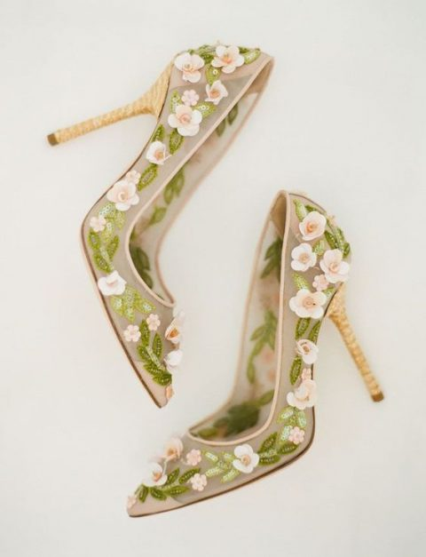 beautiful floral applique wedding shoes by Dolce_Gabbana