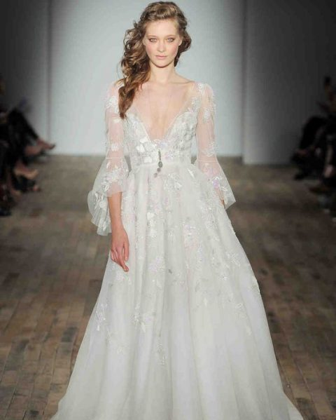 23 Trendy Bell Sleeve Wedding Dresses Happyweddcom