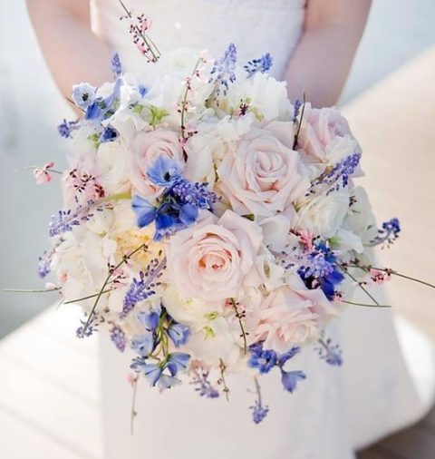 blue Muscari, blue delphinium, pink genestra and blushing Akito roses wedding bouquet