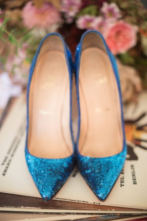 bold blue sequin wedding shoes
