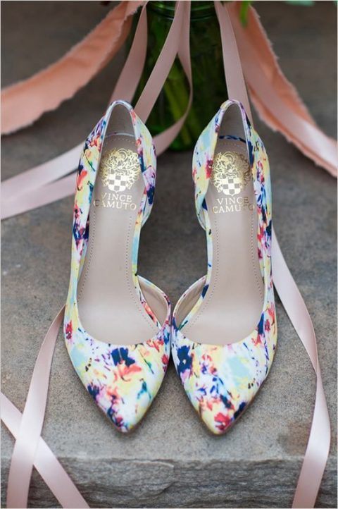 colorful floral print wedding shoes
