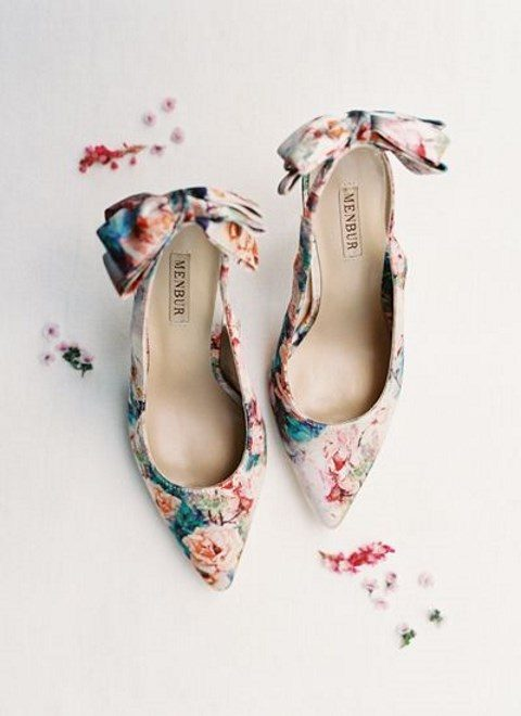colorful floral shoes with bows on the back