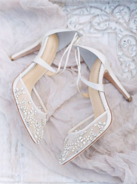 embellished semi sheer wedding shoes