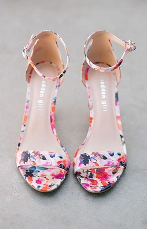 floral heeled sandals with ankle straps