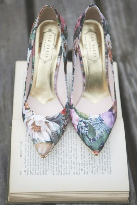 floral print wedding shoes