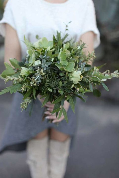 fresh greenery and herb wedding bouquet for a spring bride
