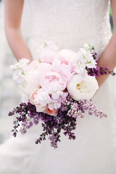 lilac and peonies wedding bouquet in blush and purple tones