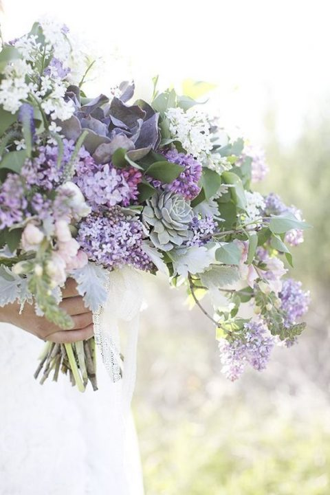lilac and succulent wedding bouquet in soft pastel shades