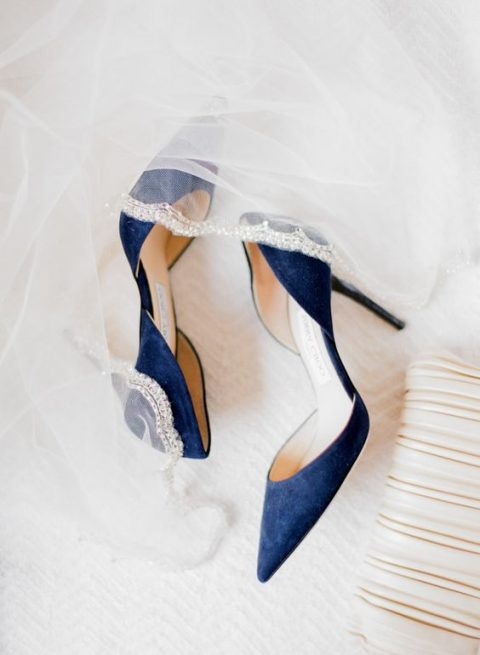 navy velvet wedding shoes