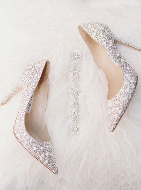 pearl wedding shoes by Jummy Choo