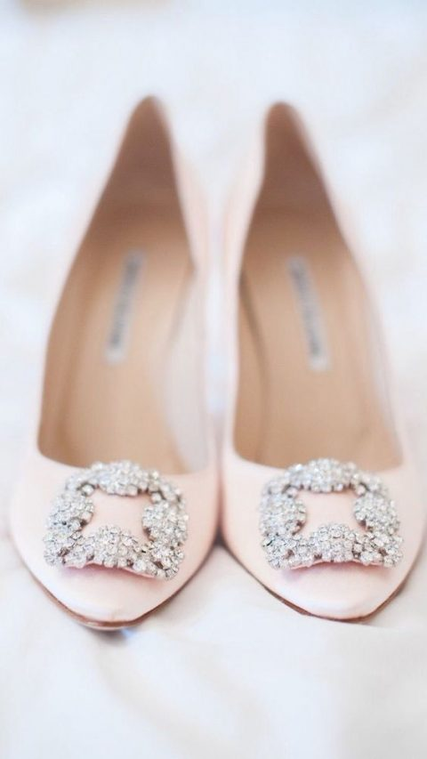 pink Manolo Blahnik heels with embellishments