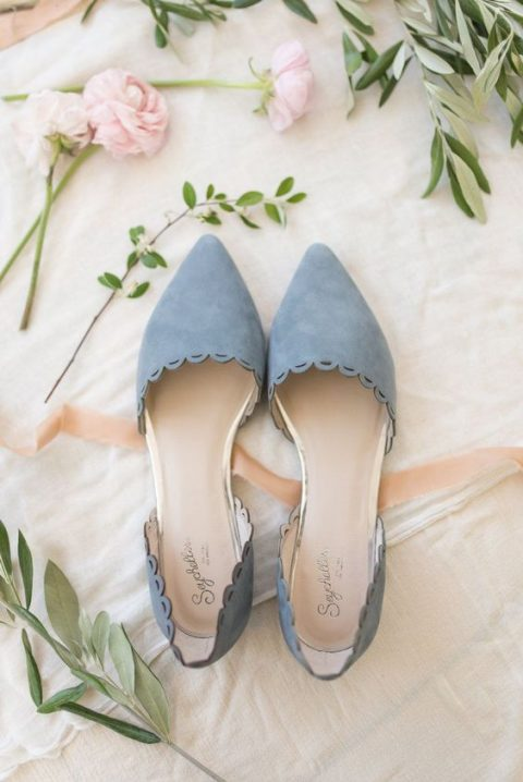 powder blue flats with a scallop edge