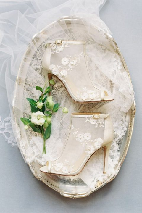 sheer wedding booties with floral appliques