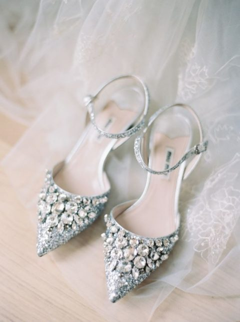 silver glitter heavily embellished wedding shoes