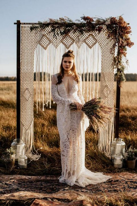 82e4083776e vintage bell-sleeve Rue de Seine wedding dress of lace with an illusion  neckline and