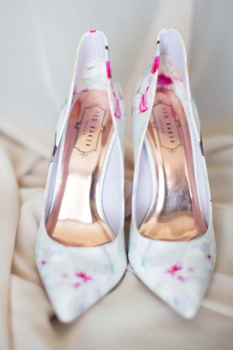 watercolor floral print wedding heels