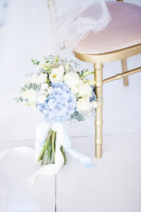white and blue wedidng bouquet with pale eucalyptus