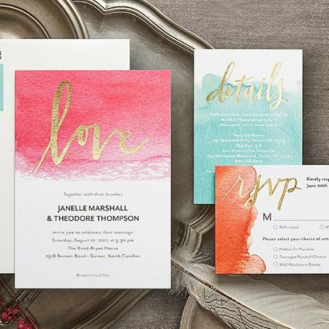 a bold watercolor RSVP card