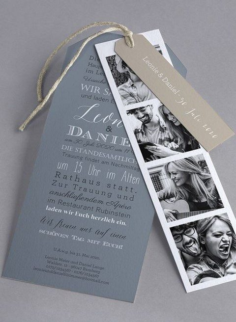 a save the date tag piece with photos, names and date and more details attached