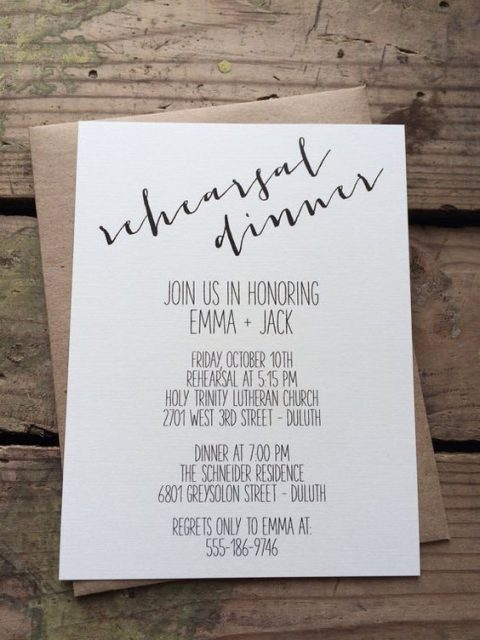 a simple rustic rehearsal dinner invitation