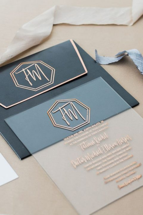 an art deco wedding invitation with copper letters