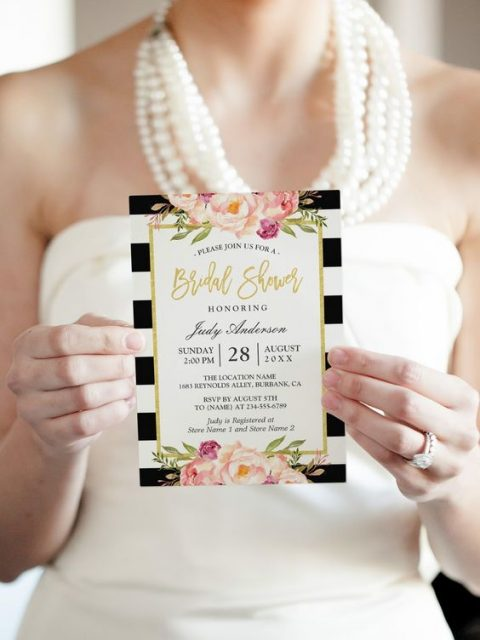black and white striped invites with florals