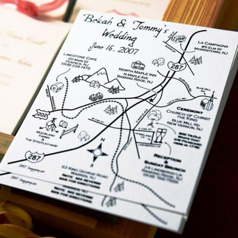 hand-drawn direction map for a wedding guest