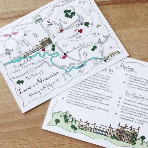 illustrated wedding direction card