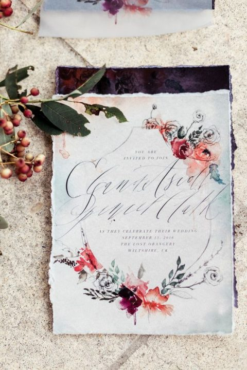 watercolor floral wedding invite for a romantic wedding