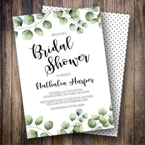 watercolor greenery bridal shower invites