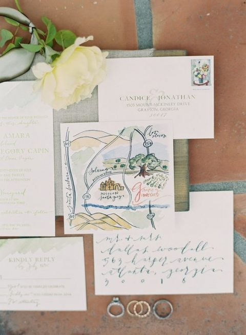 watercolor wedding direction card