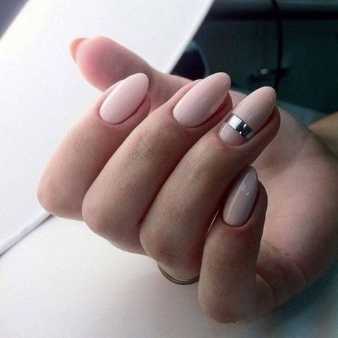 Blush Nails With A Large Silver Stripe Accent