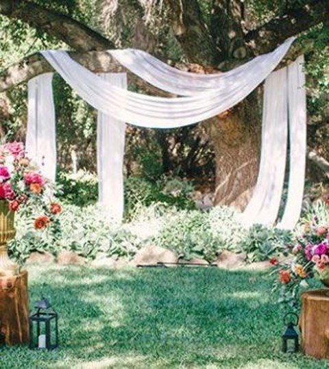 ethereal fabric hanging on the tree branches and greenery under it