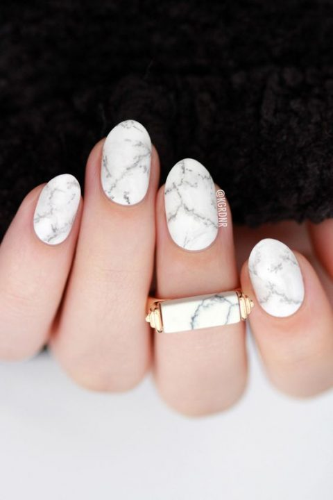 neutral marble nails are a trendy and chic option for every bride