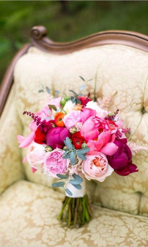 a bright bouquet with pink, fuchsia, blush and white blooms