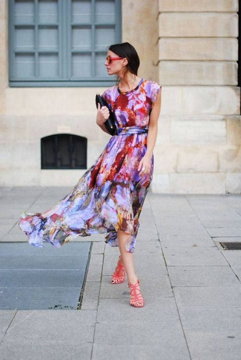a super bold watercolor sleeveless midi dress plus pink strappy heels and a clutch