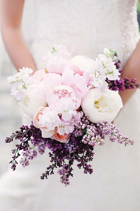 a sweet bouquet with blush and white peonies and lilac