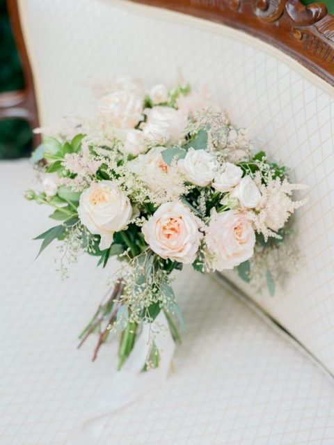 a sweet bouquet with blush roses and astilbe and greenery