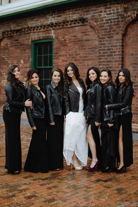 all the bridesmaids and bride rocking black leather jackets