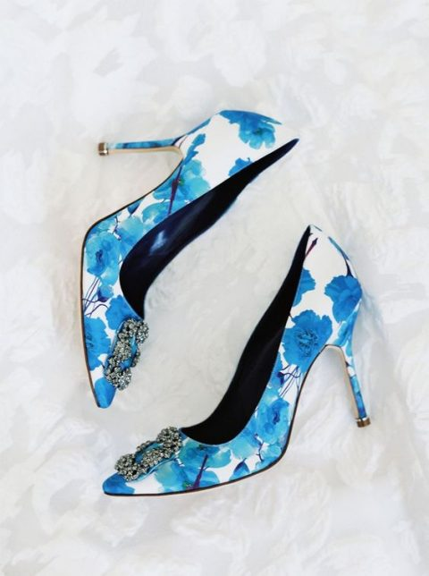 blue floral Manolo Blahnik heels for something blue and a floral touch