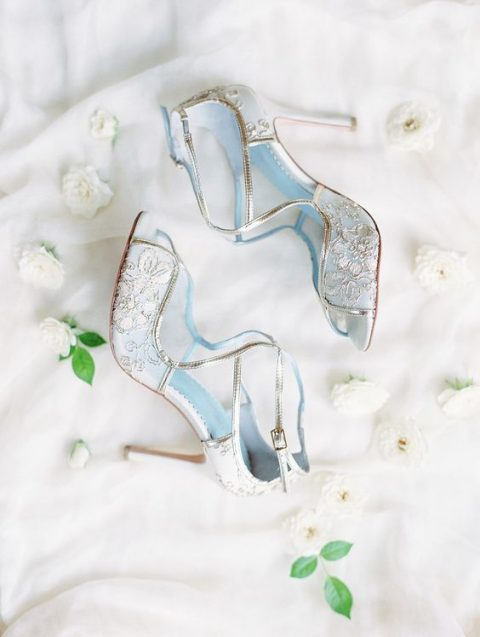 0b9c800ee5 blue lace stilettos with gold touches for something blue