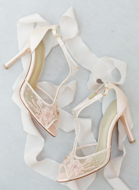 blush T-strap sheer wedding heels with lace appliques for a romantic bride
